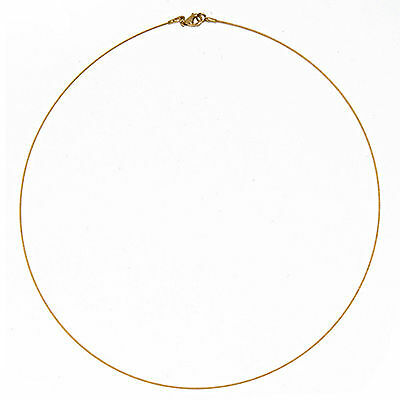 """14 KT Yellow Gold Thin Cable Wire Collar Necklace .50 mm 16"""" Lobster Clasp NEW"""