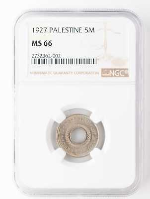 1927 Palestine 5 Mils Ngc Ms66 Very High Grade Very Scarce Coin!