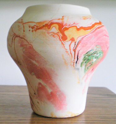 "Vintage Nemadji Pottery 5 1/4"" H. Vase With Marbled Southwest Desert Colors"