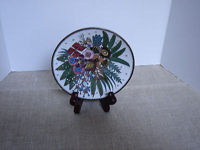 Cloisonne Mini Bowl Dish with 6 Different Flowers Multi-Colored Signed L. Rix
