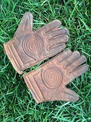 VERY Rare 1900s TORNADO Palm Old Vintage Burk & Co. ALL Leather Hand Ball Gloves