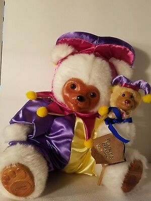 Large Jester Teddy bear. signed Robert Raikes.with friend. excellent. Adorable.