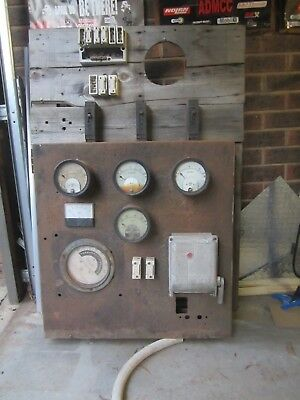 Vintage Retro Industrial 3 phase fuse box with amperes analogue metres