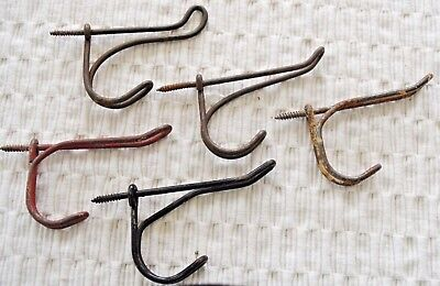 Vintage Antique Wire Coat Hat Hooks Lot of 5 Screw In Type