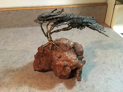 Vintage Mid Century Modern Bonsai on Burlwood Copper sculpture Artist Signed