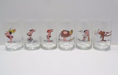 Set of 6 1981 ARBY'S B.C. ICE AGE COLLECTOR SERIES Drinking Glasses HART excel