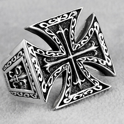 925 Sterling Silver Medieval Knights Templar Cross Ring Us Size-13 Dragon-Soul