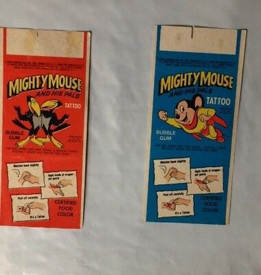 Lot of 2  1960's Topps Mighty  Mouse and Pals Cartoon Tattoos,- Nice  Condition