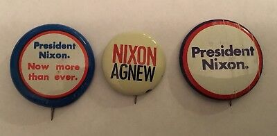 RICHARD NIXON  For President 1968  Campaign Buttons 3 Buttons