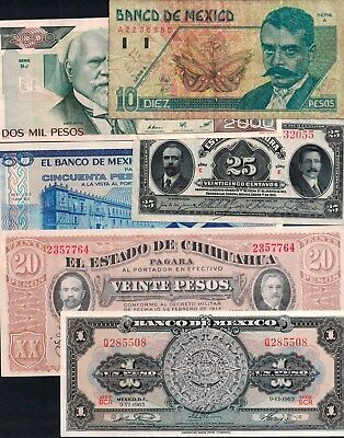#1053: Mixed Lot Of Mexican Notes - 6 Notes - 2 Circ - 4 Unc