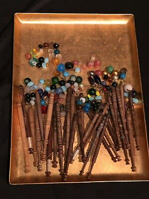 Lot of 29 Antique Wood Textile Spools Weaving Bobbins w Vintage Jewelry Beads