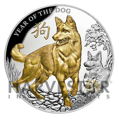 2018 Silver Year Of The Dog - 5 Oz. Silver Gold Gilded Dog - Pamp - Mintage 500