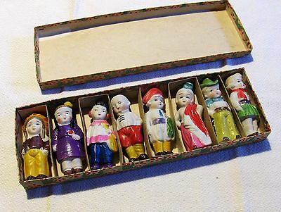"""In Box 8 Made In Occupied Japan Bisque 2 3/4"""" Figurines"""