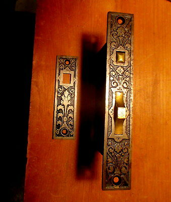 Rare Ornate Victorian Pocket Door Pull Hardware R&E Pocket Door Lock Strike