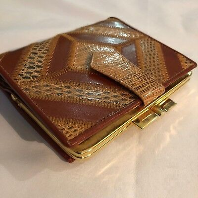 LODIS made in Spain Women's wallet Leather NEW Vintage Gold accent