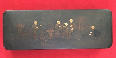 Chinese Antique Black Lacquer Wood Storage Box