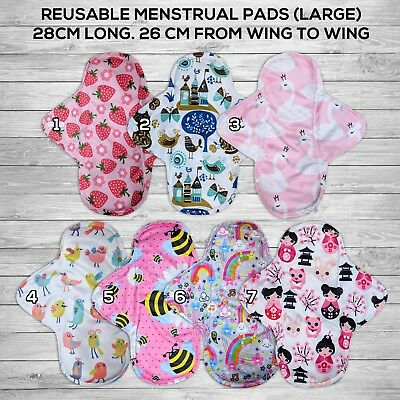 10 pcs lot Charcoal Bamboo Reusable Washable Large Menstrual Cloth Pads Cute