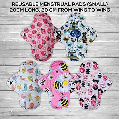 10 pcs lot Charcoal Bamboo Reusable Washable Small Menstrual Cloth Pads Cute