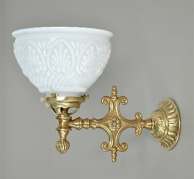 """Magill-Wall Light-Industrial Bracket-""""Old Brass""""-10"""" Clear Glass Coolie Shade"""