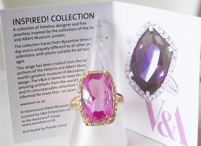 V&a The Victoria & Albert Museum London, Rose Cubic Zirconia Crystal Ring Rp £66