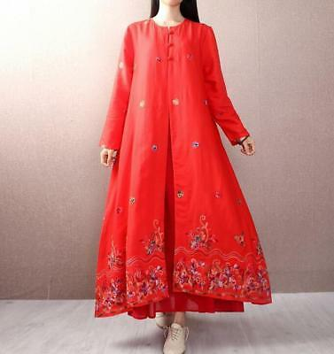 New fashion Womens Cotton Linen Floral Embroidery Loose Long Sleeve Dress b1204