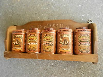 Vintage Wooden Spice Rack with Tin Spice Jars