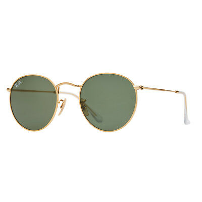 Authentic Ray-Ban Round Metal Rb3447 001 50Mm G-15 Lens Gold Frame Sunglasses