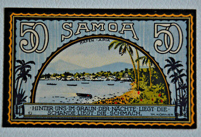 DEUTSCHE KOLONIEN Notgeld 50 Pfennig Colony-SAMOA 1922 Germany (4312)