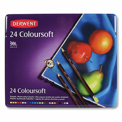 Derwent Coloursoft Colouring Pencils Tin Set of 24 - Smooth Vibrant Artist