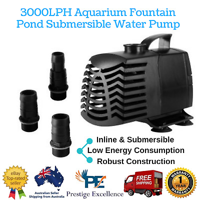 NEW Inline 45W Aquarium Fountain Pond Submersible Water Pump 3000LPH with Case