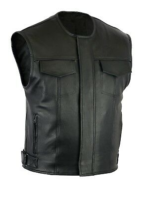 Mens Levi Motorcycle Motorbike Waistcoat Full Leather Black Vest Cut Zipper