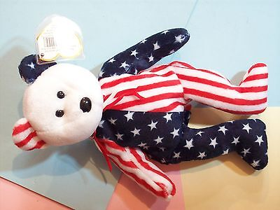 Beanie Baby Bear Spangle White Face Red White Blue Stars Stripes  1999 Ty Inc. J