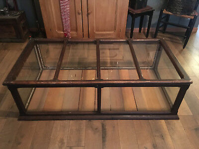 "ANTIQUE 1880's 54"" WIDE WOOD & GLASS STORE COUNTERTOP DISPLAY CASE w/SLIDING TOP"