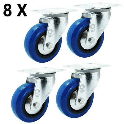 8 x Vollgummi Blue Wheels Transport Schwerlast Lenk Rolle Ø 100 mm Lenk-Lenk