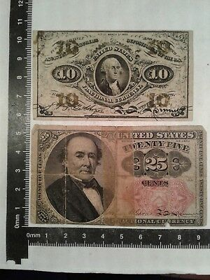 Lot Of 2 Fractional Currency (At Least 1 Shows Wash. D. C.) // Paper Money *