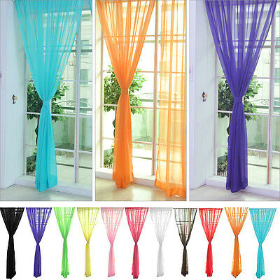 Colorful Floral Tulle Voile Door Window Curtain Sheer Valances Scarf High-Q DQUS