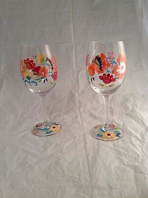 2 Hand Painted  Wine Glasses  with Decorative Flowers & Butterfly
