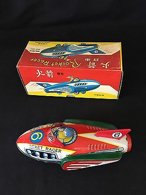 Vintage Tin Litho Friction #6 ROCKET RACER Space Ship Toy in Original Box
