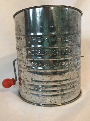 VINTAGE BROMWELLS 5 CUP Flour MEASURING SIFTER METAL Red Handle