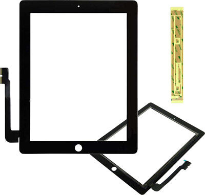 BLACK REPLACEMENT DIGITIZER TOUCH SCREEN FRONT GLASS FOR iPAD 3 WiFi 3G + Tape