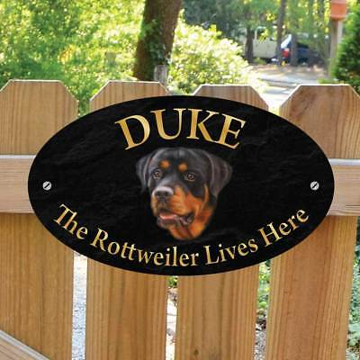Personalised Rottweiler Gate Sign, Robust Outdoor Rottweiler Lives Here Plaque