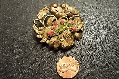 Vintage Depose France Antique Celluloid Pin Brooch Birds Neat Old Piece