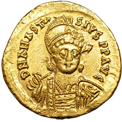 Anastasius I. Gold solidus. 491-518 A.D..   Extremely Fine..  7970.