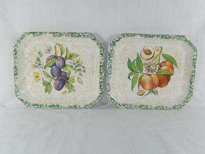 Vintage FORTUNOFF Spongeware Italian Serving Trays, Set of 2, Local Free Shpg