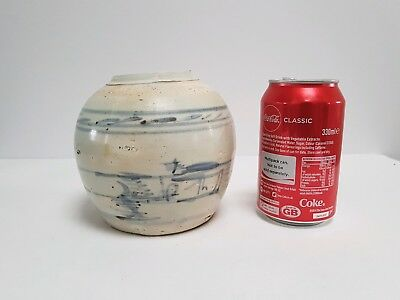 Antique Vintage Chinese White and Blue Ginger Jar