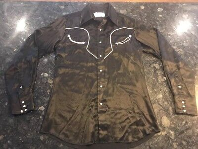 Mens Panhandle Slim Embroidered Pearl Snap Shirt M made in USA