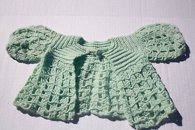 Vintage Crocheted Baby Sweater Mint Green reborn doll