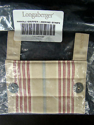 New In Package LONGABERGER Buttoned Handle Gripper Awning Stripe Beige Red