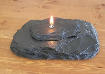 Massage, Zen, Relaxation Slate Oil Lamp Candle - Fire Rock - Black