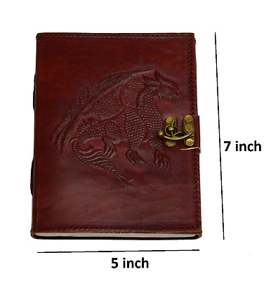 Hand Tooled Embossed  Dragon 5x7  Leather Bound Journal
